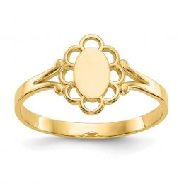 14K Yellow Gold 2 MM Children's Filigree Oval Polished Engravable Signet Ring, Size 4.25