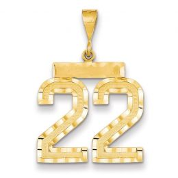 14K Yellow Gold Large Number 22 Charm Pendant