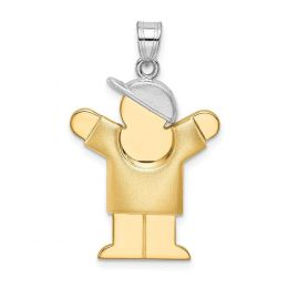 14K Two Tone Gold Puffed Boy Love with Hat on Right Engravable Charm Pendant