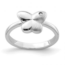 925 Sterling Silver Children's and Satin CZ Butterfly Ring, Size 4