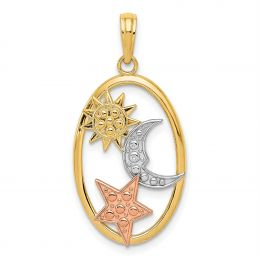 14K Tri Color Gold Sun, Moon And Star in Oval Charm Pendant
