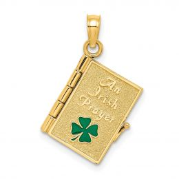 14K Yellow Gold 3-D Moveable Enameled An Irish Prayer Book With Clover Charm Pendant