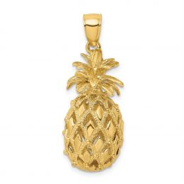 14K Yellow Gold 3-D Textured And Polished Pineapple Charm Pendant