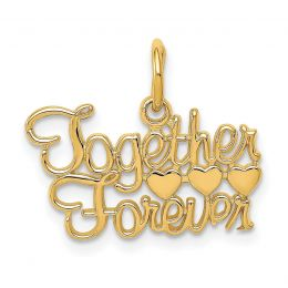 14K Yellow Gold Together Forever Charm Pendant