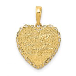 14K Yellow Gold Reversible For My Daughter Heart Charm Pendant