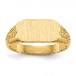 14K Yellow Gold Baby and Children Fancy Signet Ring, Size 3