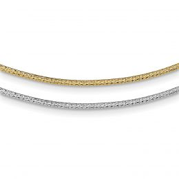 """14K White And Yellow Gold 2 MM Reversible Diamond Cut White and Yellow Omega Necklace, 16"""""""