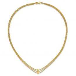 """14K Yellow Gold 3 Strand Beaded Necklace, 17"""""""