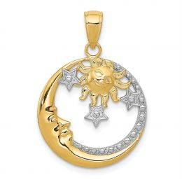 14K Two Tone Gold Moon, Stars, and Sun Charm Pendant