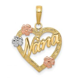 14K Tri Color Gold Nana with Flowers in Heart Charm Pendant