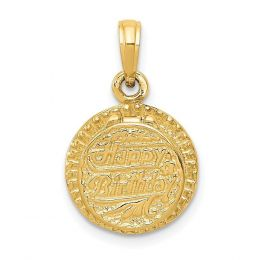 14K Yellow Gold 3D Birthday Cake with Candle Inside Charm Pendant