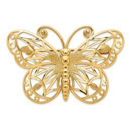 14K Yellow Gold Diamond-cut Polished and Satin Butterfly Pin Brooch