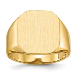 14K Yellow Gold 17.4 MM Men's Square Engravable Signet Ring, Size 10