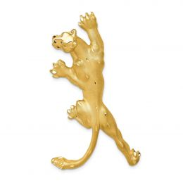 14K Yellow Gold Panther Charm Slide Pendant